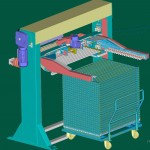 Macchina di scarico-carico cestoni per l'alimentazione di linee di smalteria per terzo fuoco.